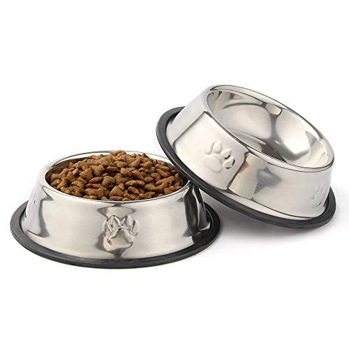 QPEY Pet Food Bowl Stainless Steel Non Skid Pet Paws Doodler