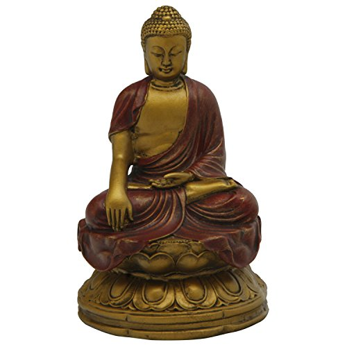 Earth Touching Buddha Statue, Gold Details, 4.5 Inches