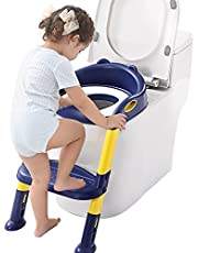 Fiboo Potty Training Seat Toddler Toilet Seat with Step Stool Ladder, Step Stools for Kids Boys and Girls Collapsible Potty Training Toilet with Handle and Ladder Safe and Comfortable Potty Seats