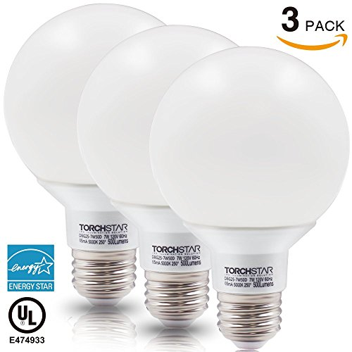 Torchstar #Dimmable# G25 Globe LED Bulb, 7W (60...