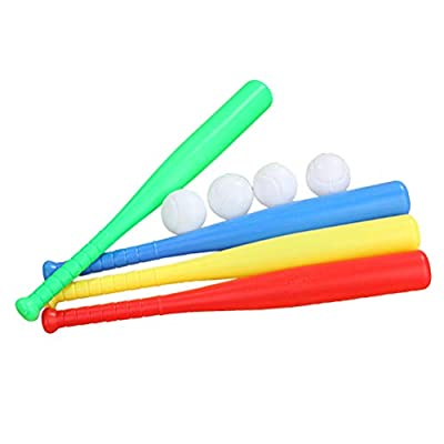 LIOOBO 4 Sets Plastic Baseball Bat Kit with Baseball Toy for Kids Chindren Kindgarden Outdoor Sports: Sports & Outdoors