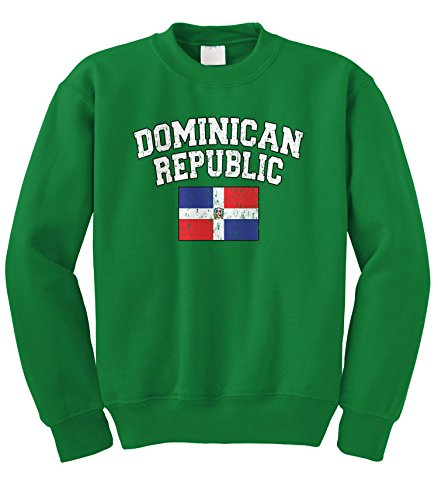 Cybertela Faded Distressed Dominican Republic Flag Crewneck Sweatshirt (Kelly Green, Large)