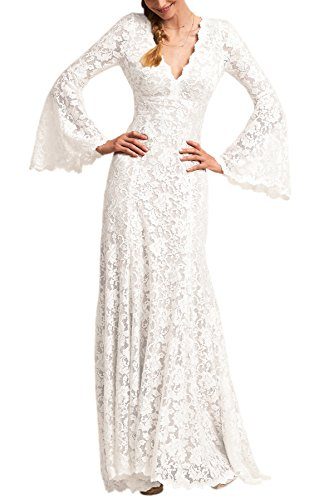 Wanhua Long Bell Sleeve V Neck Vintage Lace Wedding Dress Bridal Gown White (60s Wedding Dress Costume)