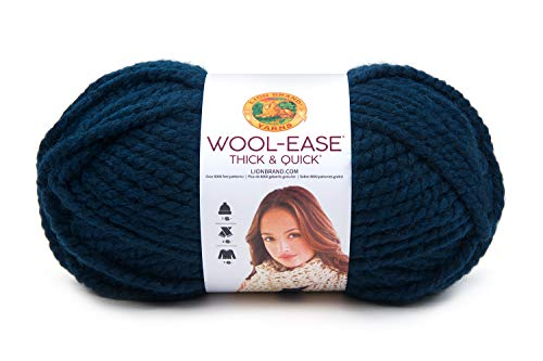 (Lion Brand Yarn 640-109 Wool-Ease Thick & Quick Yarn, Petrol Blue)