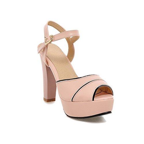 Amoonyfashion Donna Tacco A Spillo Sandali Con Fibbia In Pelle Di Vitello Assortiti Colore Rosa