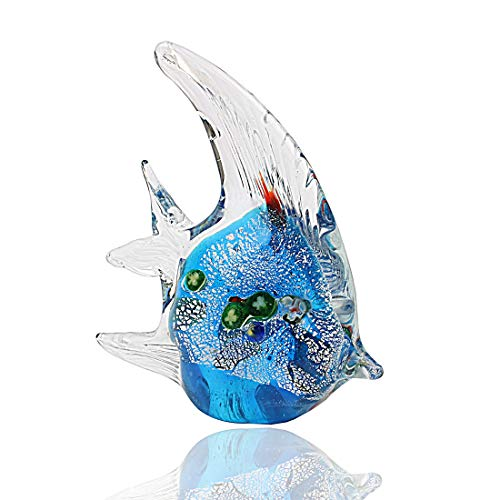 Hophen Murano Angel Fish Art Glass Blown Handmade Sea Animal Figurine Sculpture Home Decor Collectible Statue Paper Weight Gift Ornament (Small - Handmade Blown Glass