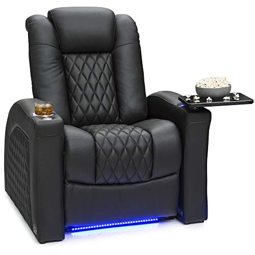 Seatcraft Stanza - Home Theater Seating - Power Recliner - Leather - Adjustable Powered Headrest and Lumbar Support - Lighted Cup Holders - USB Charging - Base Lighting - SoundShaker - Black
