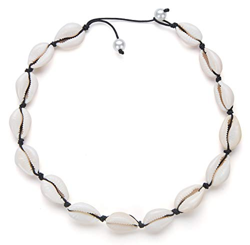 Nackiy Women Seashell Pearl Choker Necklace Summer Beach Natural White Shell Necklace(Black Pearl)