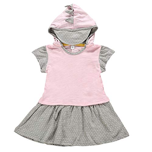 iZZZHH Children Infant Baby Boy Girl Cartoon Dinosaur Hooded Tops Clothes,Pink -