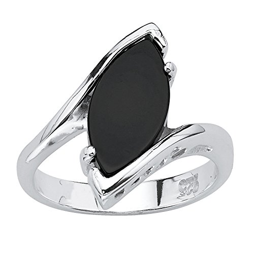 (Marquise-Shaped Genuine Black Onyx .925 Sterling Silver Classic Ring Size 9)