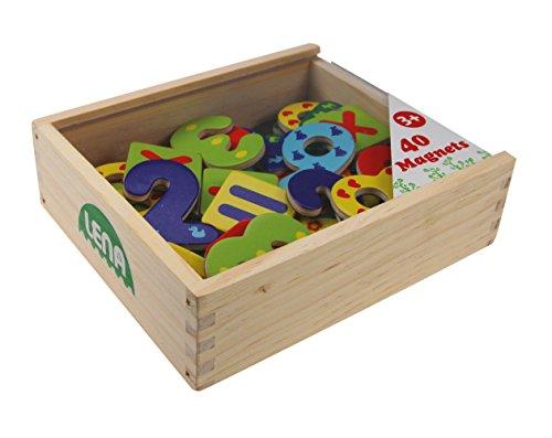 Lena 65824–bois chiffres et magnétique Calcul caractères dans boîte en bois 40teilig