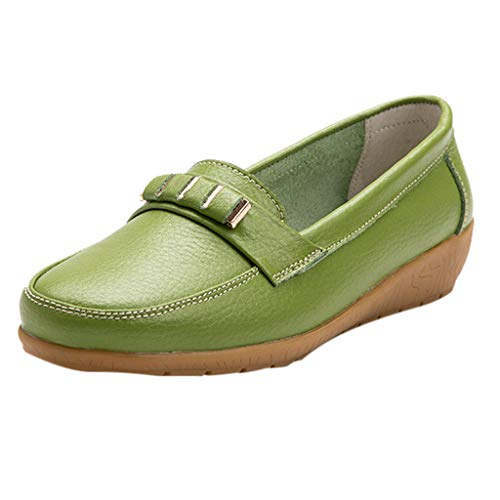 Dressin Women's Leather Loafers Moccasins Wild Driving Casual Flats Comfy Shoes Adjustable Strap Flats Light Green