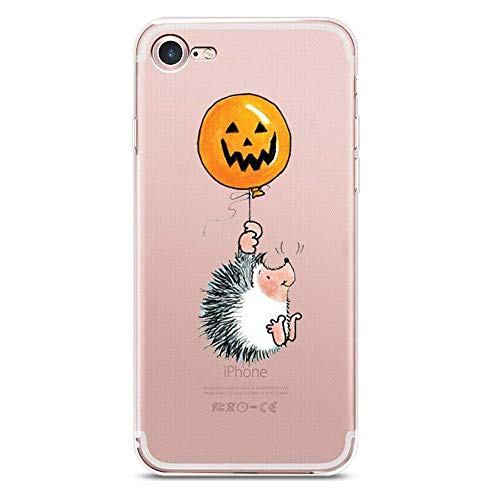 iPhone 8 Plus Case, JICUIKE Thriller Halloween Pumpkin Lights Design Slim Clear Silicone Transparent Soft Shell Bumper Protection Cover for Apple iPhone 7 Plus 5.5 inch [Little Hedgehog]