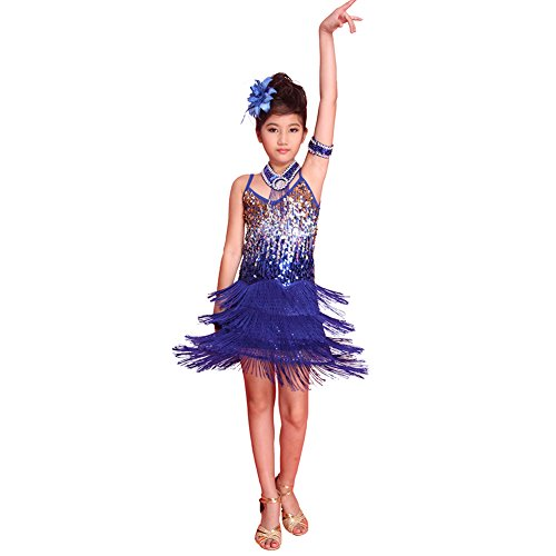 Fenta Girls Sequined Latin Tassel Dancewear Dancing Dress Costume (Flamenco Dance Costumes For Girls)