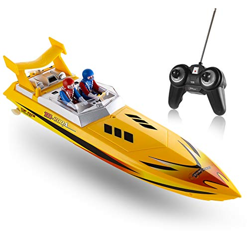 Control Speed Remote (Top Race Remote Control Water Speed Boat, RC Boat for Kids, Perfect Toy for Pools and Lakes 8 Mph (Yellow))