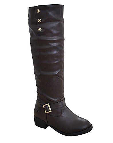 Pelliccia Lungo Autunno Neve Snow Stivali Stivali Stivaletti Invernali Tacco Donna Marrone Boots ShallGood Nuovo Elegante Inverno con g5w44q