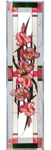 Irises Lavender Pink Vertical Art Glass Panel Wall Hanging Suncatcher 42 x 10