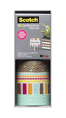 Scotch Expressions Washi Tape, Multi-Pack with Storage Box, Diamonds, Dots, Lines, 4 Rolls (C317-4PK-DIAM)