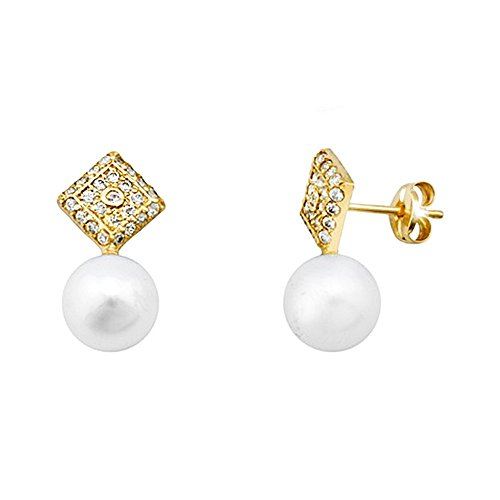 Boucled'oreille or 18k diamant perle de culture zircone cubique [AA5998]