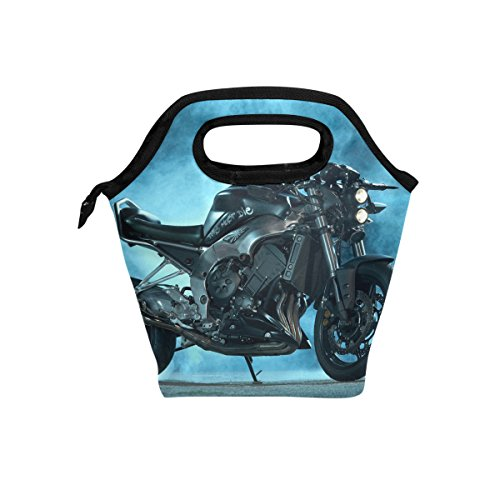 LORVIES Sport Motorcycle Bike Lunch Tote Bag Insulated Thermal Cooler Lunch Bag Waterproof Neoprene Lunch Handbags Tote with Zipper for Outdoor Travel Picnic