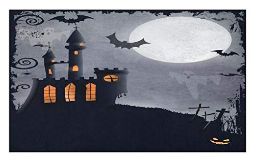 Lunarable Vintage Halloween Doormat, Halloween Themed Asymmetric Caste Scary Bats Ghosts Full Moon, Decorative Polyester Floor Mat Non-Skid Backing, 30 W X 18 L Inches, Black Grey