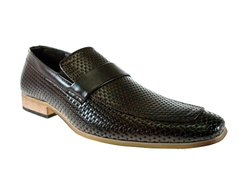 Imarc Heren Rashool Belted Strap Woven Slip Loafers Schoenen Bruin