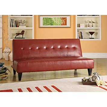 adjustable futon couch sofa faux leather bycast  button tufted red amazon    adjustable futon couch sofa faux leather bycast      rh   amazon