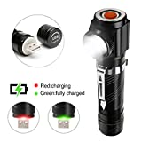 USB Rechargeable LED Tactical Flashlight (18650 Battery Included),Pocket-sized LED Torch,Super Bright IP65 Water Resistant Zoomable Right Angle Emergency Flashlight for Camping,Hiking and Cycling
