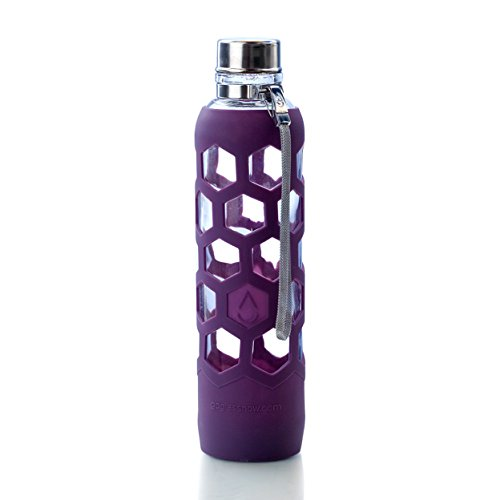 Insane Sale! GoGlass Terra Borosilicate Glass Water Bottle With Silicone Sleeve 24oz, No Plastic, Modern Large Drinking Reusable Travel Bottles (Mauve)