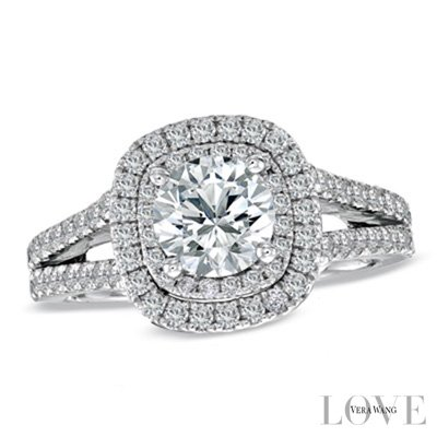 Vera Wang Replica Love Collection 1.25CT. T.W. Lab Grown Diamond Frame Split Shank Engagement Ring in 14K White Gold in all sizes