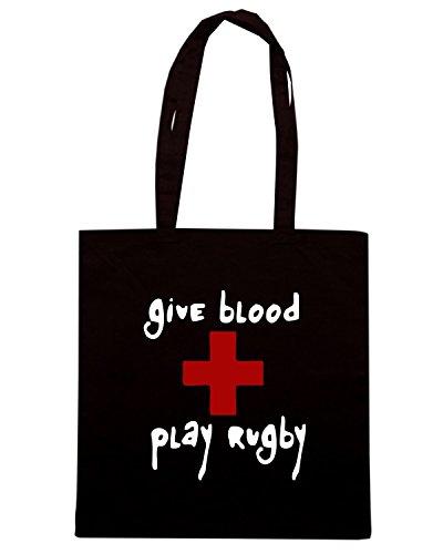 T-Shirtshock - Bolsa para la compra TRUG0106 give blood play rugby black logo Negro
