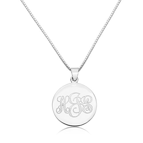 Sterling Silver Women's Personalized Pendant 24mm Three Initial Monogram Engraved Necklace ()
