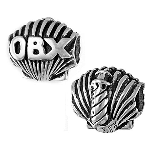OBX - Outer Banks, NC - Lighthouse and Shell Charm Bead - 925 Sterling Silver - Fits DIY Add-A-Bead Bracelets like Pandora - Great Vacation Souvenir and Gift Idea