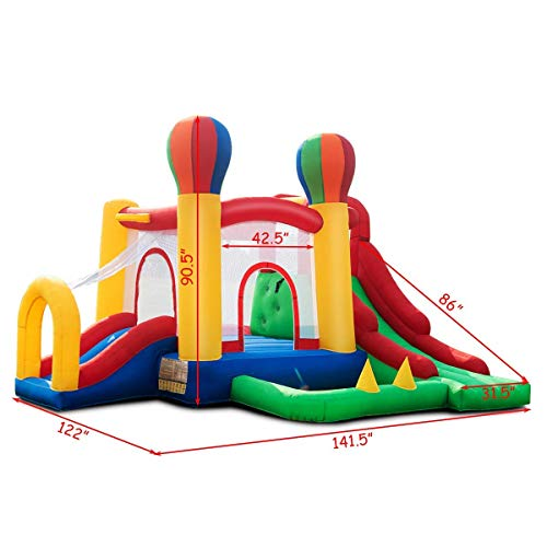 Costzon Inflatable Bounce House, Mighty Balloon Double Slide Bouncer with Basketball Hoop, Climbing Wall, Large Jumping Area, Ideal Kids Jumper (Without Blower) by Costzon (Image #6)