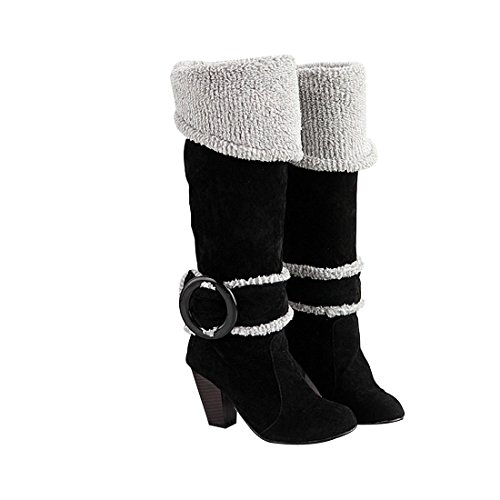 Big Size 4-10.5 Block High Heels Knee High Winter Shoes for Women Sexy Warm Fur Buckle Black Snow Boots 6 B (M) US