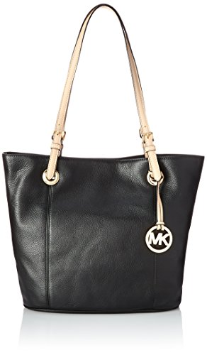 Zip Clutch Tri - Michael Kors Womens Jet Set Leather Lined Tote Handbag Black Large