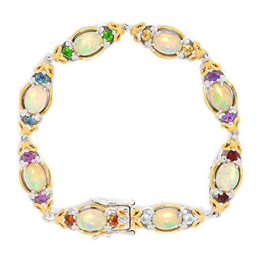 Michael Valitutti Palladium Silver Ethiopian Opal, Peridot, Citrine & Multi Gemstone Line Bracelet