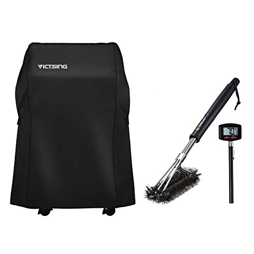 VicTsing Gas Grill Cover Kit, Barbecue Grill Gas Kit for Weber, Holland, JennAir, Brinkmann and Char Broil (Including 1 Grill Cover, 1 Stainless Steel Brush and 1 Cooking Thermometer)