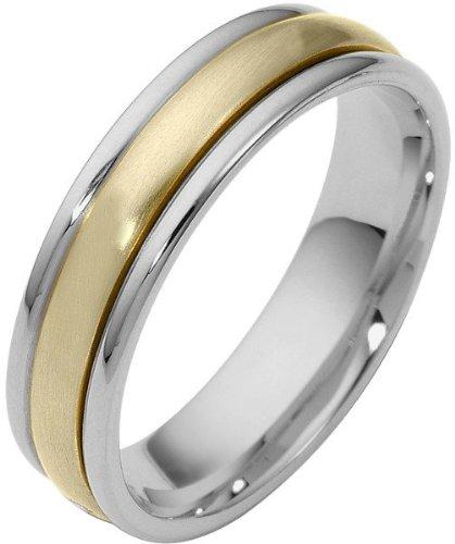 (4mm Two-Tone 14 Karat Gold Designer SPINNING Wedding Band Ring - 575)