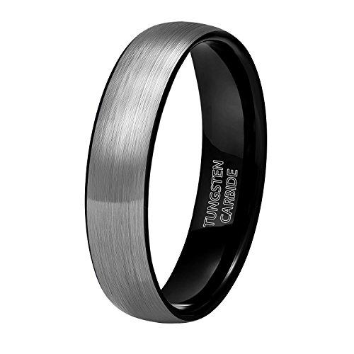 Shuremaster 6mm 8mm Black Grey Tungsten Carbide Rings for Men Women Brushed Dome Wedding Band Size 4-15 ()