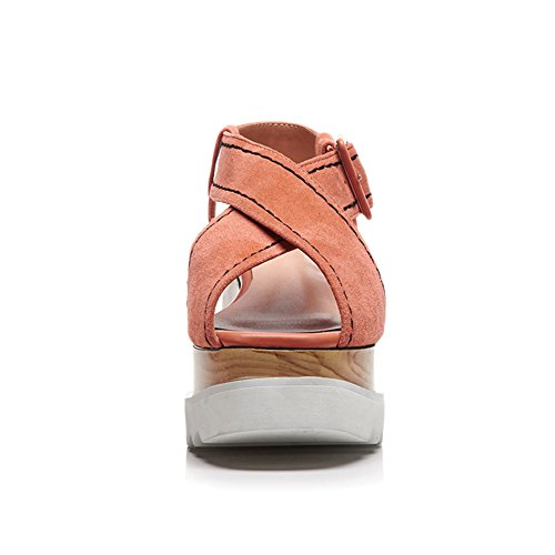 Cinturón Sandalias Chanclas KJJDE Pink Cuadrado Cuña Hebilla L1424 De Y Gamuza WSXY De Verano Mujer Sandalias 8dHqH