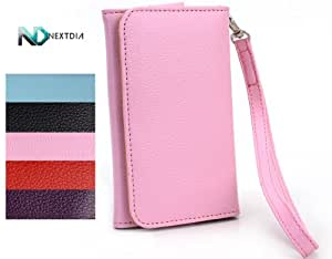Smartphone Epi Leather wallet fits AT&T GoPhone Avail 2 | Pale Pink Universal Wristlet Clutch + NextDIA Velcro Tie