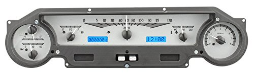 Panel Digital Meter Falcon - DAKOTA DIGITAL 64 65 Ford Falcon & Mustang Analog Dash Gauges Silver Alloy Style Blue VHX-64F-FAL-S-B