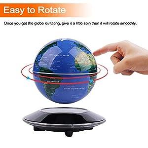 Globo Flotante de levitación magnética Mapa Mundial rotativo – Globo antigravedad para Regalo Educativo – Oficina en casa Decoración de Escritorio de Clase – (Azul EUR Enchufe)