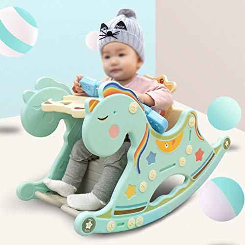 Cacyy Wooden Ride on Toy,Rocking Horse Wooden   Green and Pink Unicorn   Perfect for Toddlers Rocking Horse for 1-3 Year Old/Kindergarten/Baby/Children Christmas,Green
