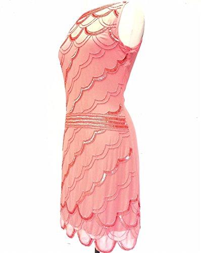 Ladies 1920de estilo vintage Charleston Flapper Gatsby Abbey Fringe con cuentas Lentejuelas Vestido De Cambio Coral
