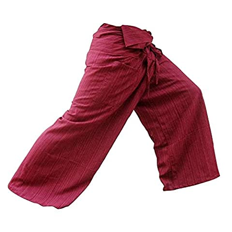 Thai Fisherman Pants Cotton 100% Traditional Tailoring Style Yoga Pants , Relax Pants , Clothes (Striped - (Oakley Straight Jacket Red)