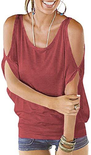 PINUPART Women's Summer Cold Shoulder Lace up Regular Fit Dolman Shirt Top XL Rust