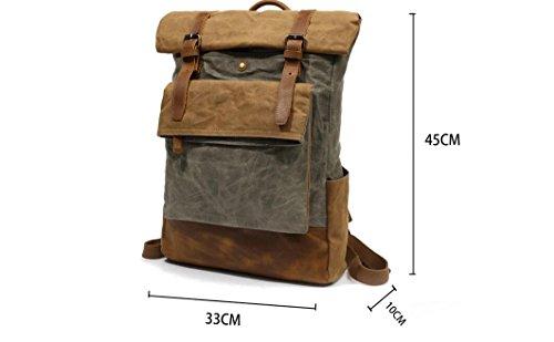 Rucksack Vintage Öl Wachs Tasche Reise Schultern Casual Outdoor Klettern Student Aktentasche Verdicken Verstärkte Daypacks Wandern Camping Kaffee