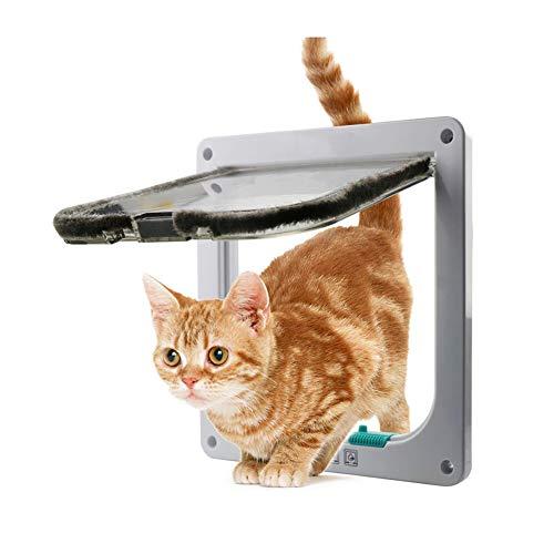 DJLOOKK Puerta De Mascota Magnética De Puerta Abatible con Cerradura De 4 Vías, Kit De Puerta para Mascotas para Gatos Y...